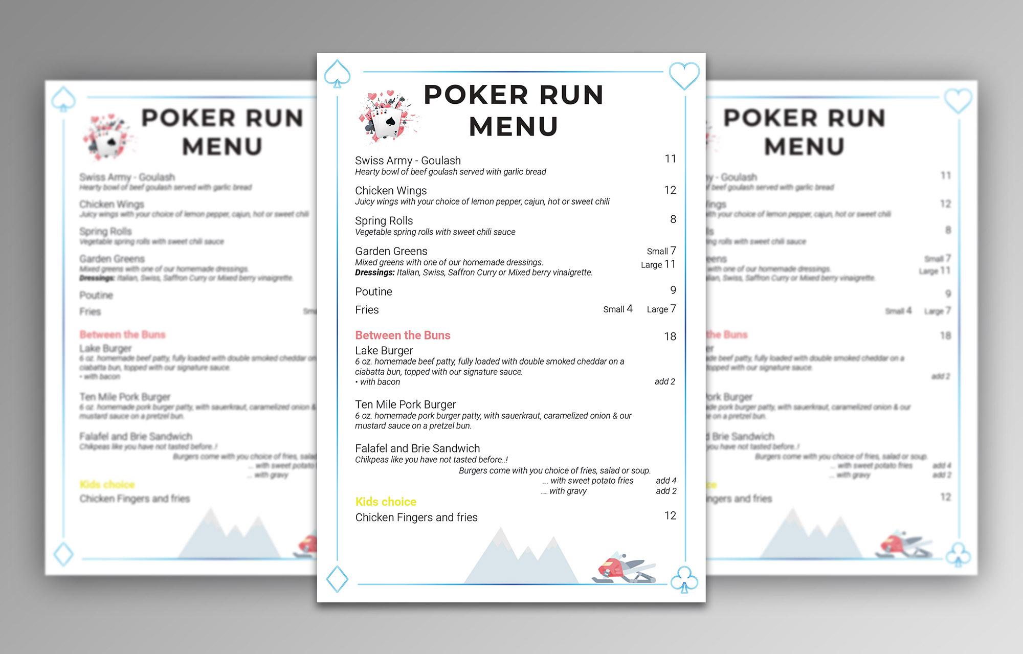Menu Poker Run - Marie Naudon